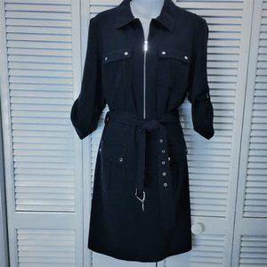 Michael Kors dress Large navy blue belted NWT